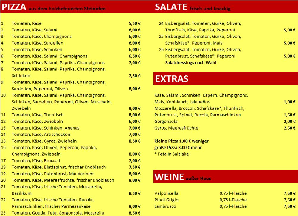Pizza inn speisekarte for Pizza haus braunschweig