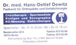 Dr. med. Hans-Detlef Dewitz Orthopäde