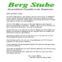 """Gaststätte """"Berg Stube"""" - Speisekarte"""