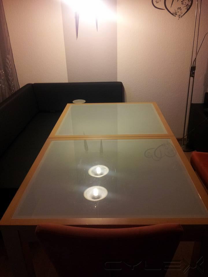 esstisch buche glasplatte