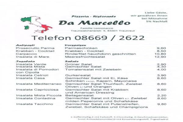 Da Marcello Pizzerien In Traunreut öffnungszeiten