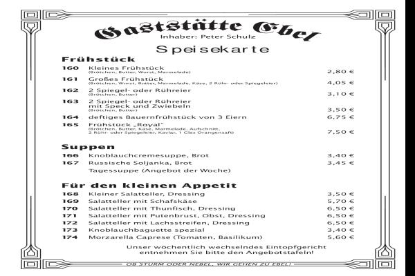 Gaststaette Ebel in Berlin Altglienicke - Öffnungszeiten