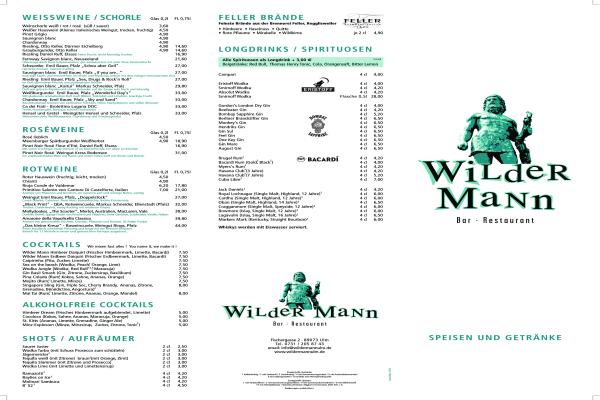Wilder Mann Cocktail Bar Restaurant In Ulm Weststadt Offnungszeiten