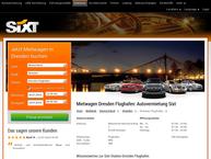 Website von Sixt Autovermietung Dresden Flughafen