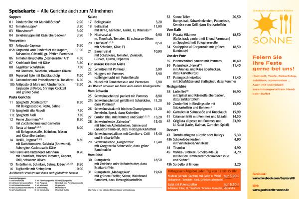 Speisekarte als PDF