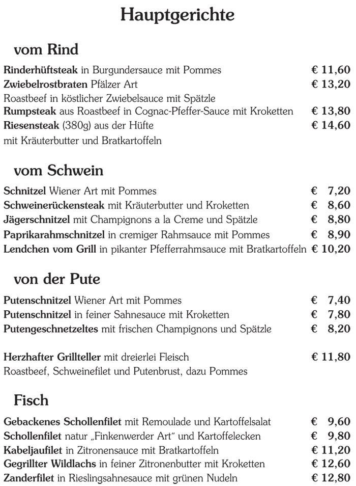 restaurant sch tzenhaus hauptspeisen. Black Bedroom Furniture Sets. Home Design Ideas