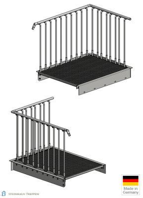 steinhaus treppen produkte au entreppe 100 cm breit 16 stahl stufen mit podest 320 cm h he. Black Bedroom Furniture Sets. Home Design Ideas