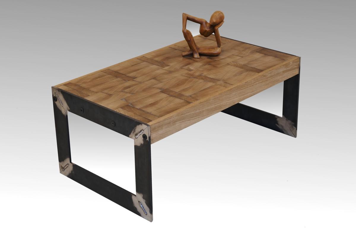 wohnzimmertisch eiche:Designer Couchtisch altes Holz massiv Wohnzimmertisch alte Eiche Stahl