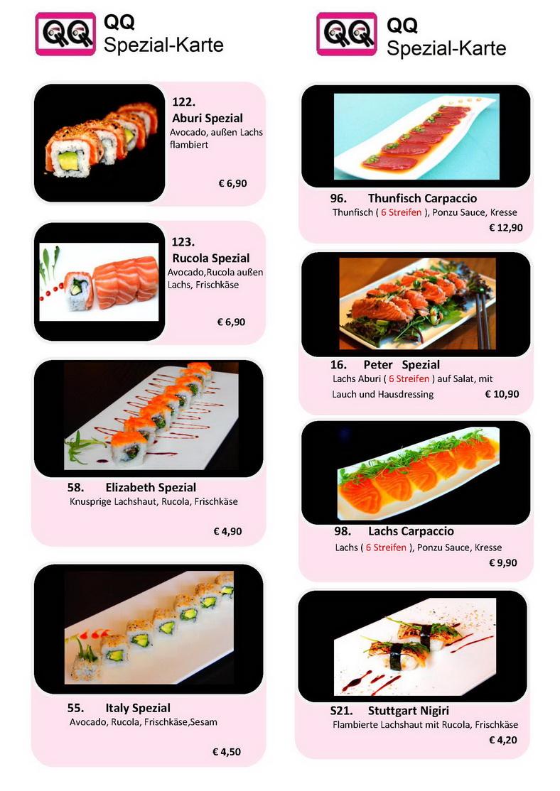 Qq Sushi Lounge Spezialkarte