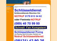 Website von Schlüsseldienst München Ost A. Ewald Notdienst Tel. (089) 45 70 99 50
